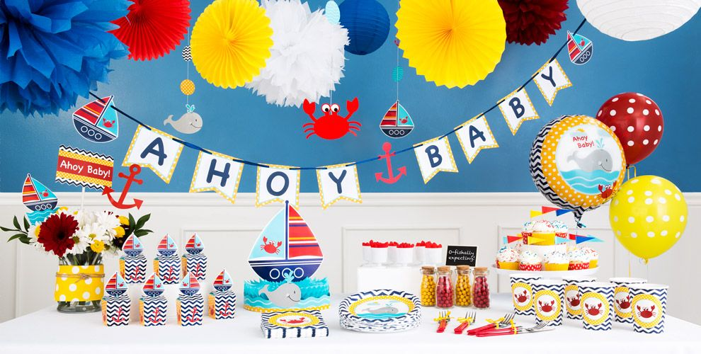 ahoy nautical baby shower party supplies  party city, Baby shower invitation