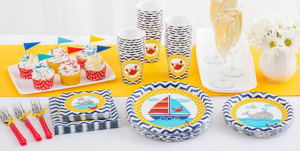 Patterned Tableware 50% off MSRP — Ahoy Nautical Baby Shower Party Supplies
