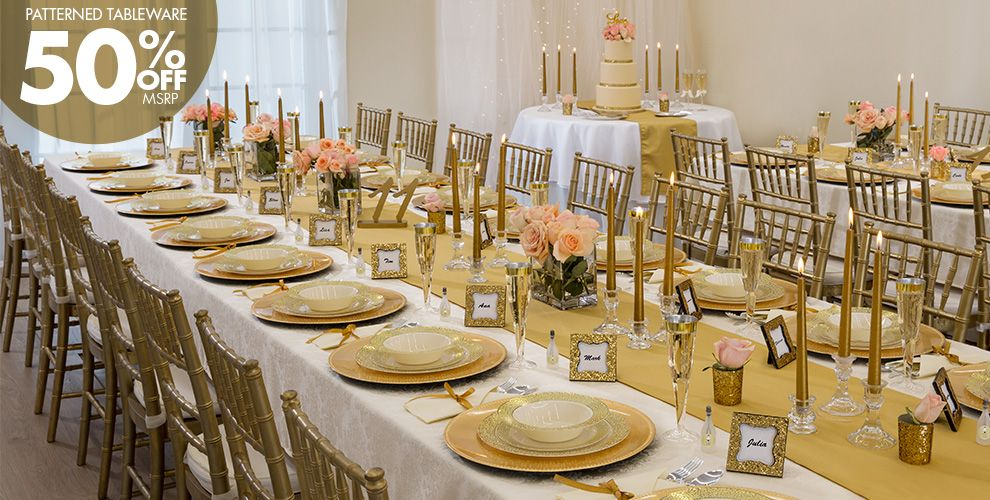 Patterned Tableware 50%off MSRP — Gold Glam Wedding Party Supplies
