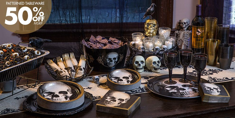 skeletons skulls halloween decorations patterned tableware 50 off - Halloween Party Supplies