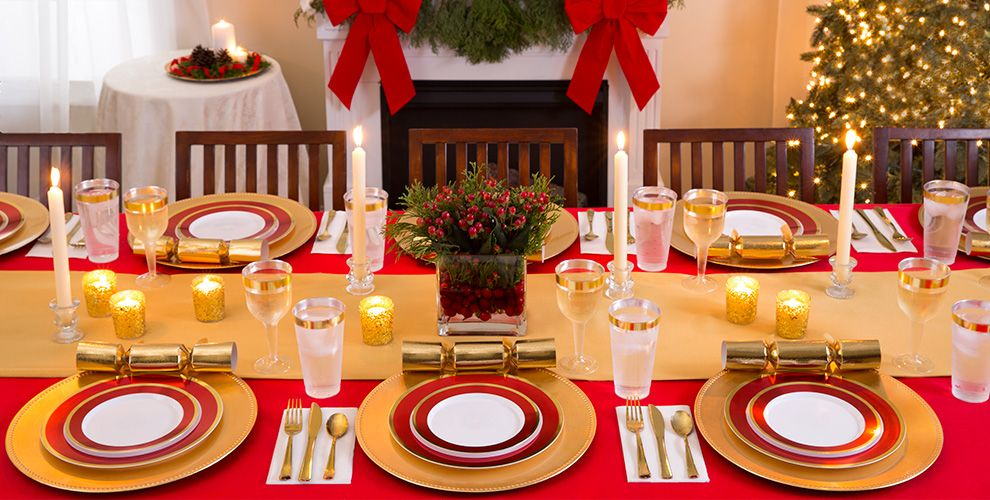 Gold & Red Border Premium Tableware
