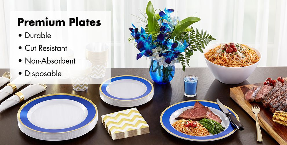 Colorful Border Premium Tableware — Durable, Cut Resistant, Non-Absorbent, & Disposable