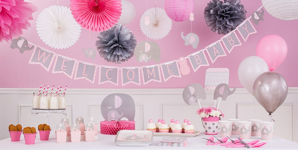 Pink baby elephant baby shower party supplies party city for Baby shower decoration kits girl