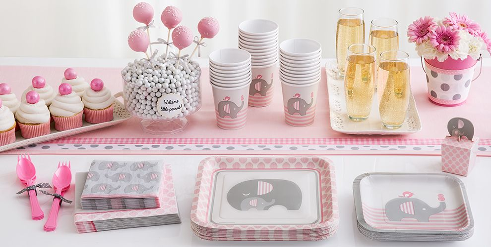 Patterned Tableware 50% off MSRP — Pink Baby Elephant Baby Shower Party Supplies