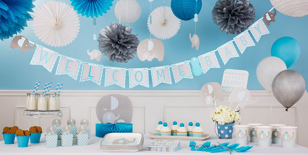blue baby elephant baby shower party supplies  party city, Baby shower invitation
