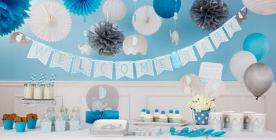 Perfect ... Blue Baby Elephant Baby Shower Party Supplies ...