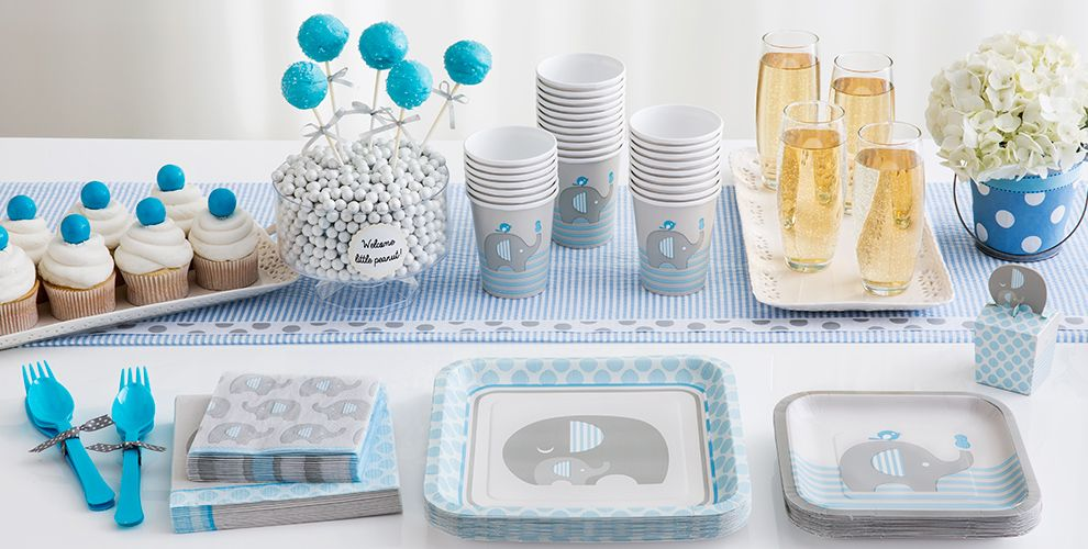 Blue baby elephant baby shower party supplies party city for Baby shower decoration kit