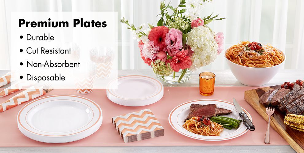 White Rose Gold Premium Tableware — Durable, Cut Resistant, Non-Absorbent, & Disposable