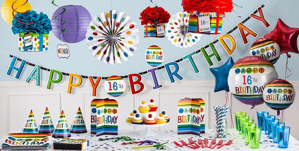 Rainbow 16th Birthday Party Supplies