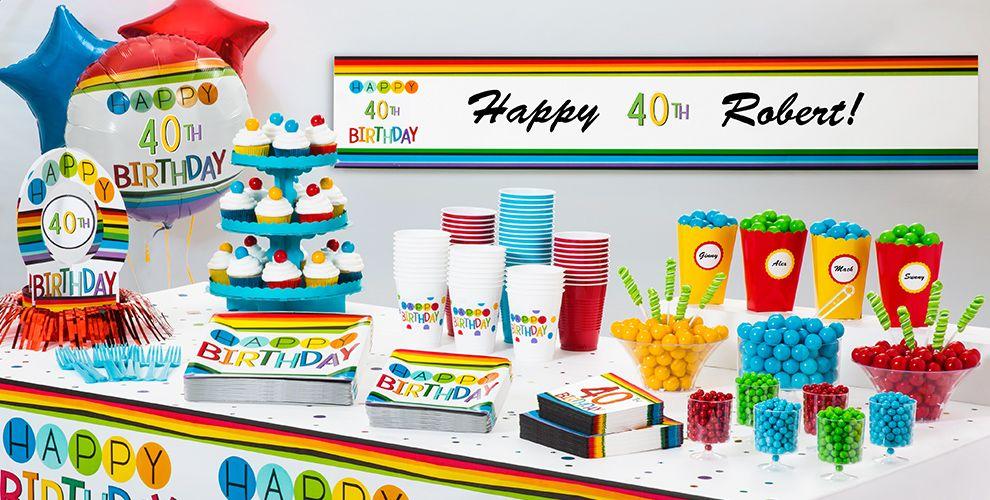 Rainbow 40th Birthday Party Supplies