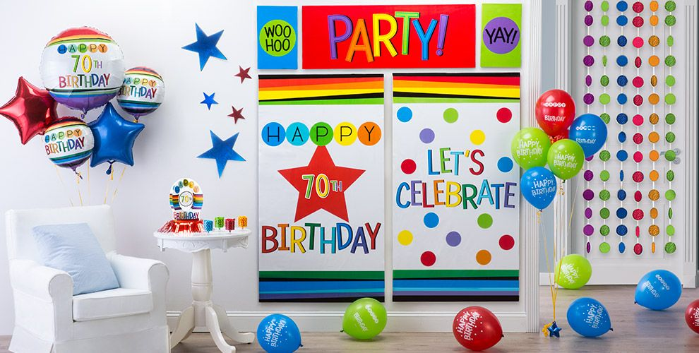 Rainbow 70th Birthday Party Supplies