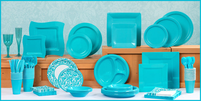 Solid Caribbean Blue Tableware #1