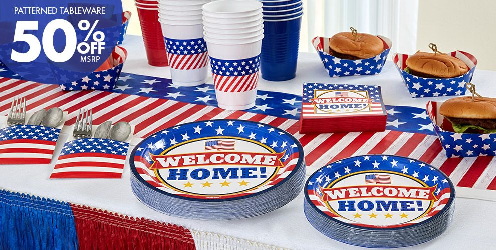 Welcome Home Party Supplies — Patterned Tableware 50% off MSRP