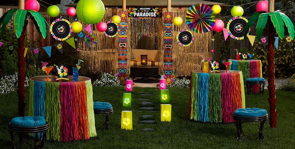 Neon hibiscus party supplies hawaiian luau party theme for Hawaiin decorations