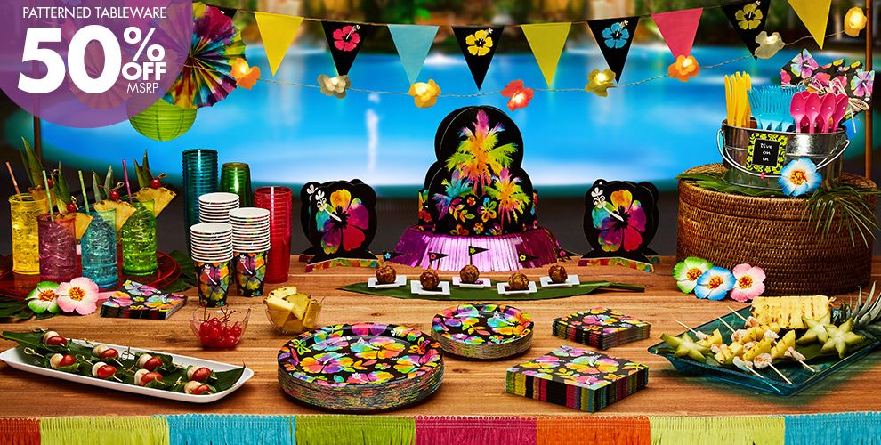 Patterned Tableware 50% off MSRP — Neon Hibiscus Party Supplies