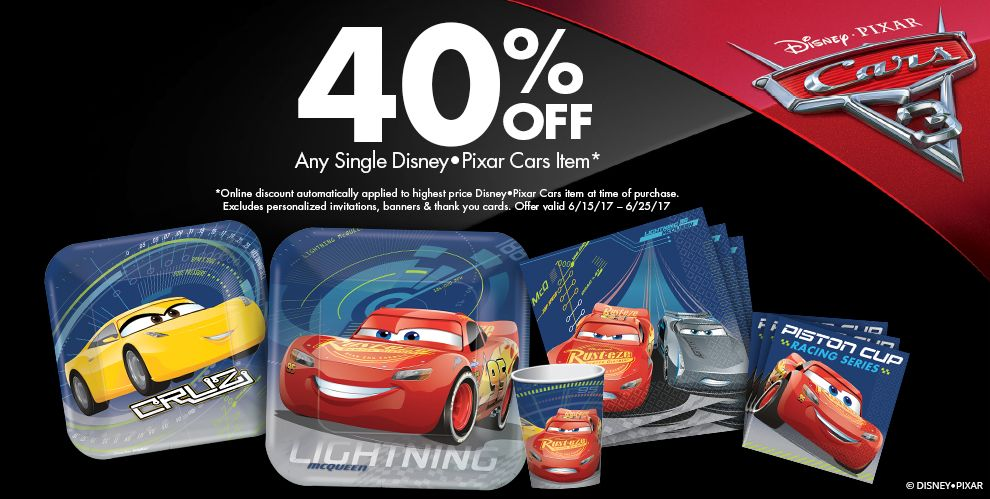 50% off Any Single Disney Pixar Cars Item - *Online discount automatically applied to highest price Disney Pixar Cars item at time of purchase. Excludes personalized invitations, banners & thank you cards. Offer valid 6/15/17 - 6/25/17
