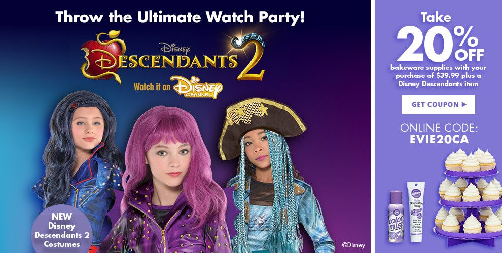 Descendants 2 Party Supplies Take 20% off bakeware supplies with your purchase of $39.99 plus a Disney Descendants Item. Use online code: EVIE20CA