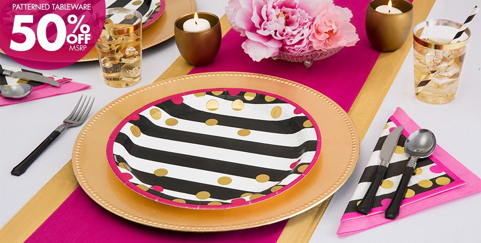 Bright Pink Patterned Tableware 50% Off MSRP