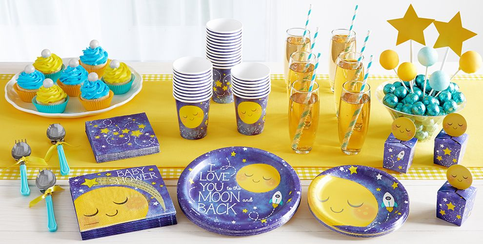 Patterned Tableware 50% off MSRP — Moon & Stars Baby Shower Party Supplies