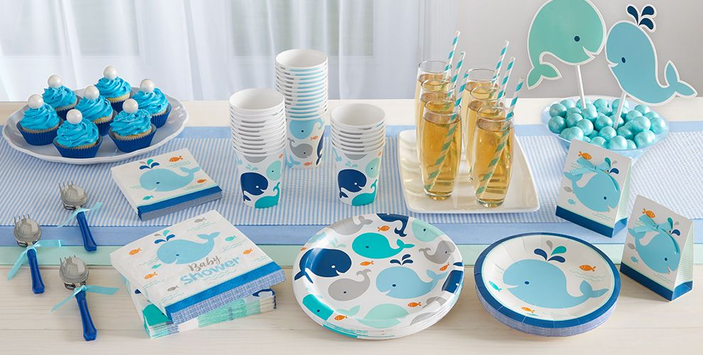 Blue baby whale party supplies party city canada for Baby full month decoration ideas