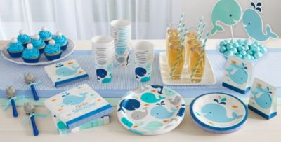 Patterned Tableware 50% Off MSRP U2014 Blue Baby Whale Party Supplies ...