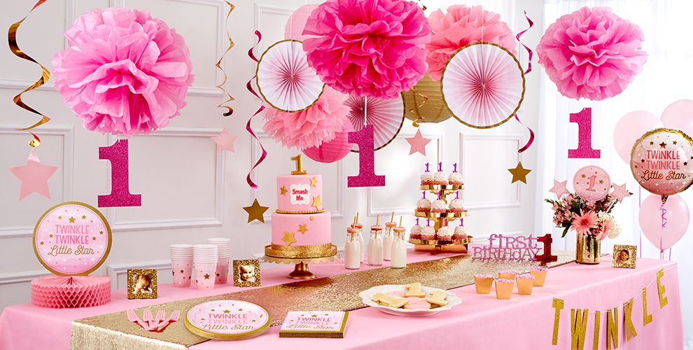 Pink Twinkle Twinkle Little Star 1st Birthday Party Supplies – 50% off Patterned Tableware MSRP