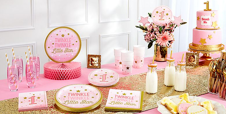 Pink Twinkle Little Star 1st Birthday Party Supplies