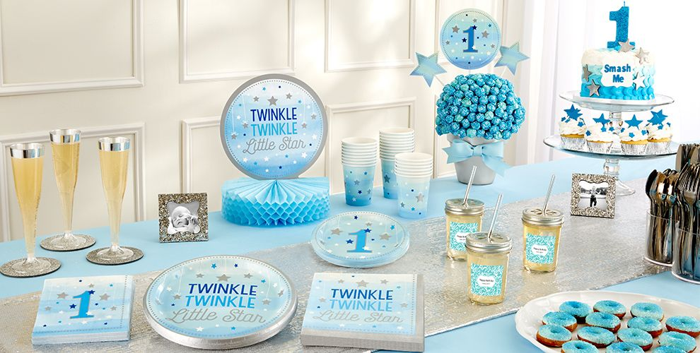 Blue Twinkle Twinkle Little Star 1st Birthday Party Supplies – 50% off Patterned Tableware MSRP
