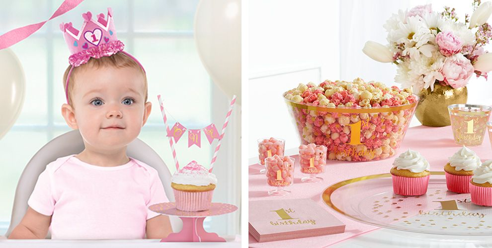 Pink & Gold Confetti Premium 1st Birthday Party Supplies