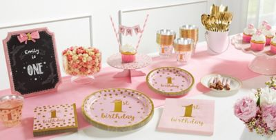 Pink Gold Confetti Premium 1st Birthday Party Supplies Pink
