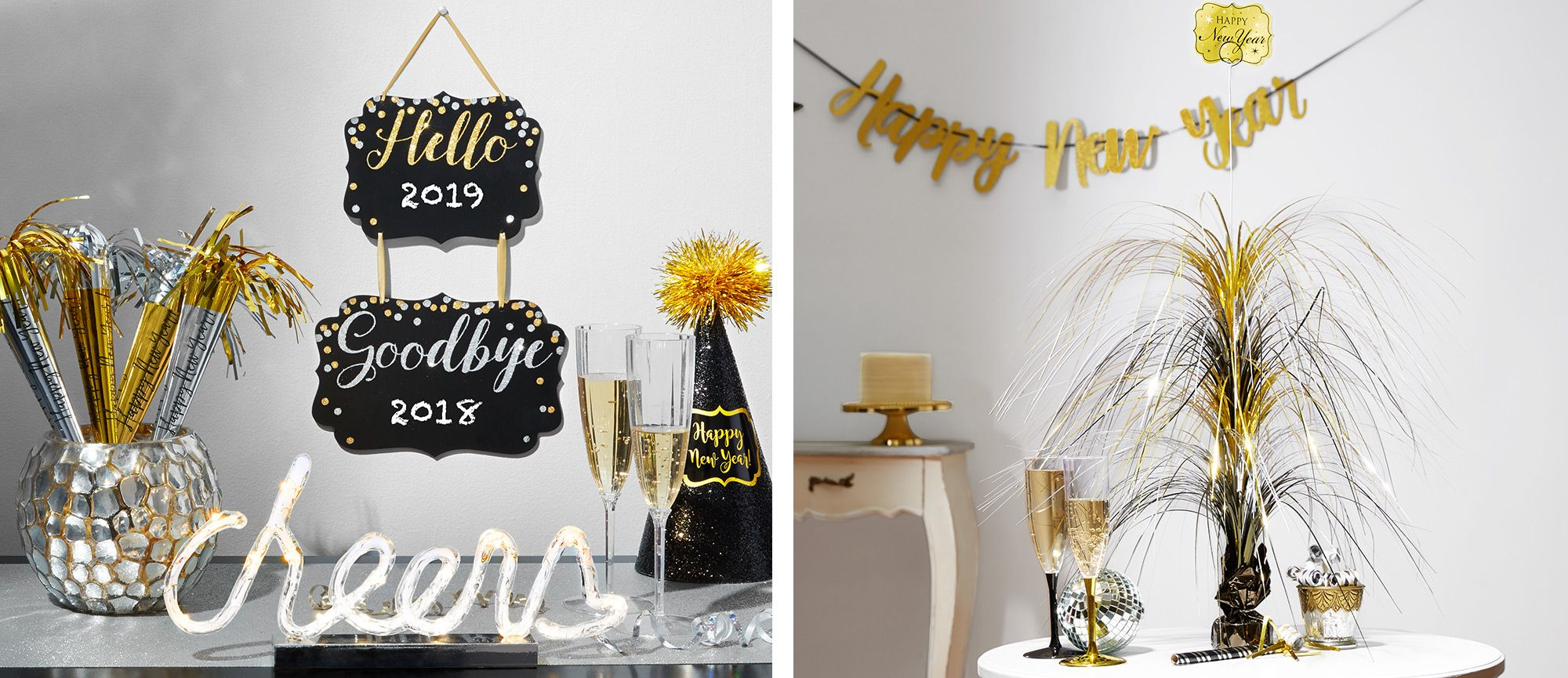 Black gold silver new year 39 s eve decorations party city - Black silver and white party decorations ...