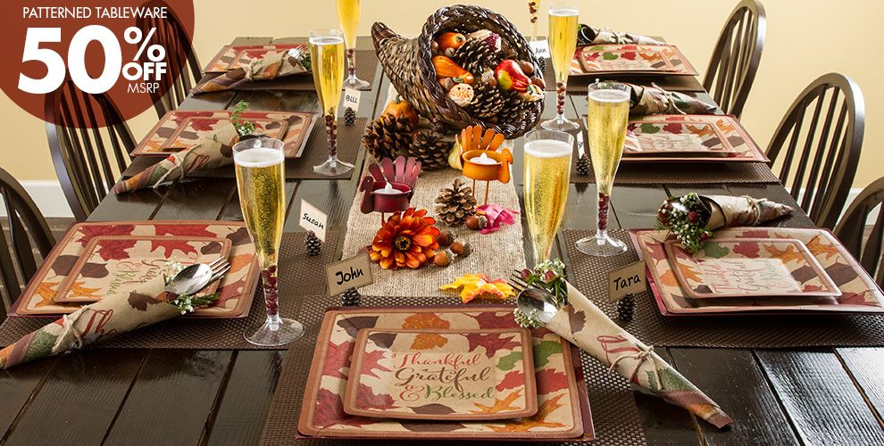 Patterned Tableware 50% off MSRP — Thanksgiving Autumn Traditions Party Supplies