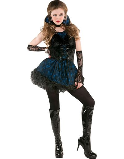 Teen Halloween Costume Ideas teen sky blue crayon dress Teen Girls Midnight Vampire Costume