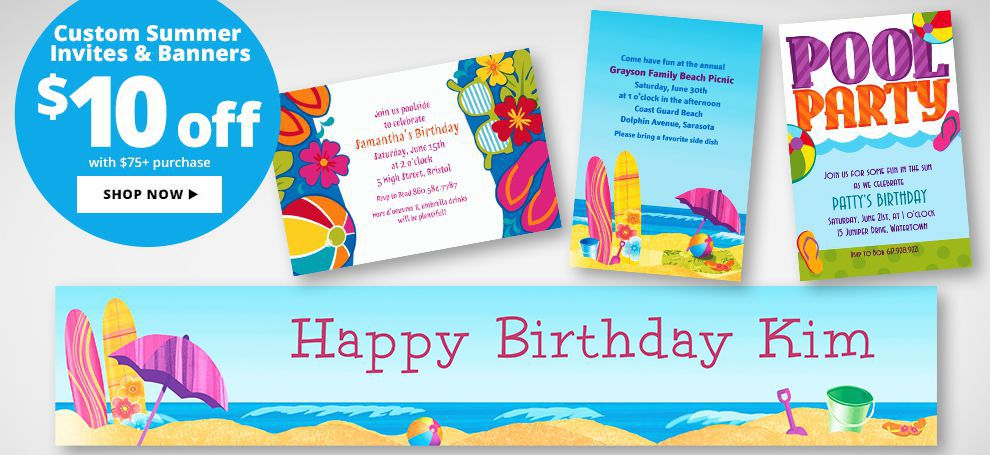 Custom Summer Invitations & Banners