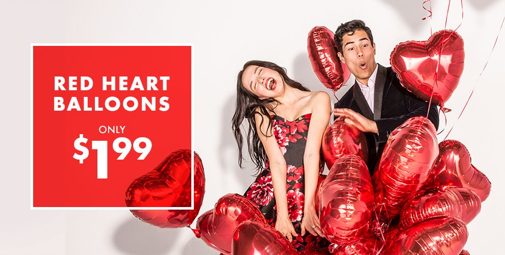 Valentine's Day Party Red Heart Balloons Only $1.99 Shop Now
