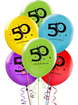 50th Birthday Balloons 15ct