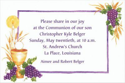 Custom Communion with Grapes Invitations