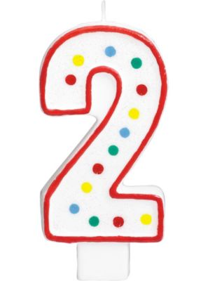 Giant Glitter Red Outline Number 2 Birthday Candle