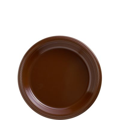 7in Plastic Plates | SKU 430249  sc 1 st  Party City & Big Party Pack Chocolate Brown Plastic Dessert Plates 50ct | Party City