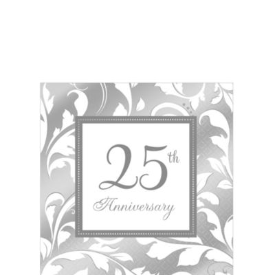 16 Cheers to 25 Years Silver Foil Finish Party Napkin 25th Birthday Anniversary