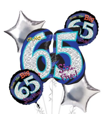 65th Birthday Balloon Bouquet 5pc