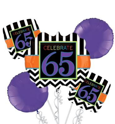 65th Birthday Balloon Bouquet 5pc Giant Chevron