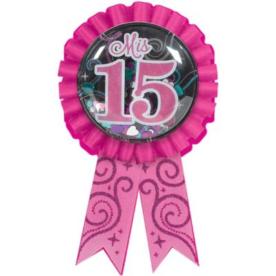 "Elegant Mis Quince Aos Confetti Pouch Birthday Party Award Ribbon (1 Piece), Multi Color, 5 3/4"" x 3 1/8""."