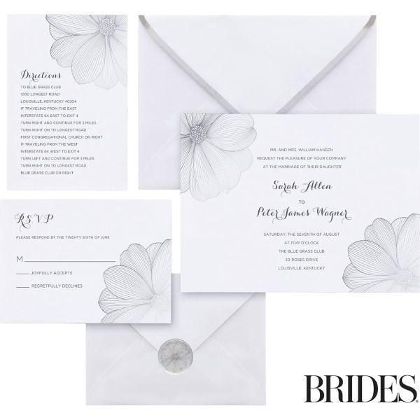Silver Flower Printable Wedding Invitations Kit 30ct