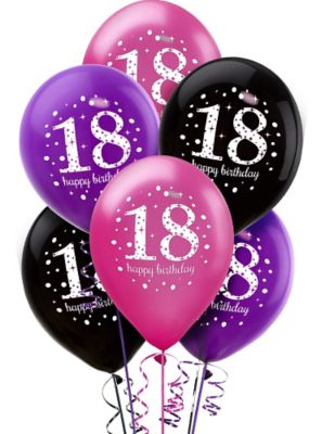 18th Birthday Balloons 6ct - Pink Sparkling Celebration
