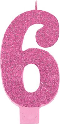 Giant Glitter Pink Number 6 Birthday Candle