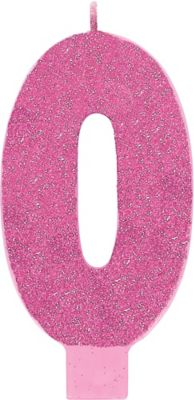 Giant Glitter Pink Number 0 Birthday Candle