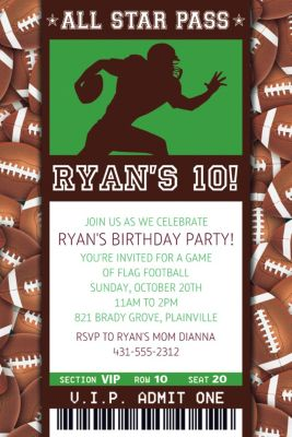 Custom Football Ticket Invitation
