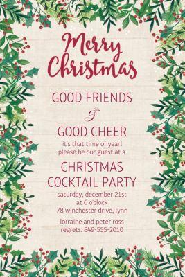 Custom Holly Merry Christmas Invitation
