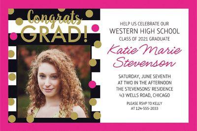 Custom Confetti Graduation Photo Invitation